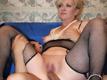 Sensual mature blonde Lina shares a cock with a pretty younger woman named Cristina